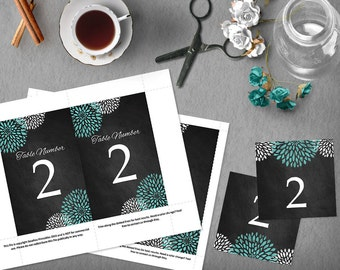 Aqua Chalkboard Wedding Table Numbers, 4x6 and 5x7 DIY Table Numbers, Rustic Wedding Template, Instant Download, Tented Table Number, DIY