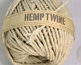 100% Natural organic Hemp Twine -  strong 4MM -   sold in Multiples x 5 METRE