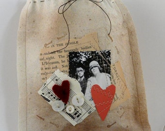 Primitive Valentine Bag - Couple lovers altered art paper collage treat with prim 9 tags aged