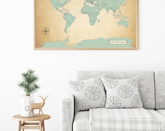 SALE! Push Pin Travel Map, World Travels Map, Map Art, World Map Art Print, Paper Anniversary Gift, Large Map 24x36 inch - ANTIQUE BLUE