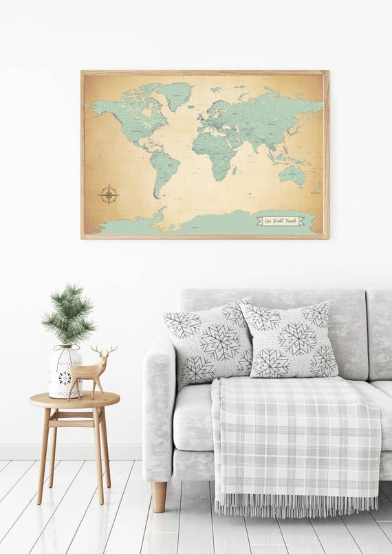 Sale push pin travel map world travels map map art world like this item gumiabroncs Choice Image