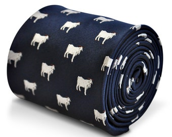 navy blue tie with goat embroidered design with signature floral design to the rear by Frederick Thomas FT3238