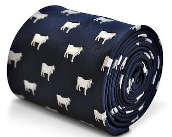 corbata azul marino con diseño de cabra bordado con diseño floral de la firma en la parte trasera de Frederick Thomas FT3238