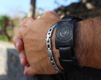 Bracelet, black bracelet, biker gift, men's gift, men's accessories, leather bracelet, gift for him, men's bracelet