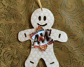 Gingerbread Man Ornament with A&W Snowflake -Drink