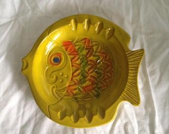 Mid Century Pottery Ashtray, 1960's Fish Ashtray, Pacific Stoneware Inc. Ashtray, Design by Scarpino, Mid Century Ceramic, Boyfriend Gift