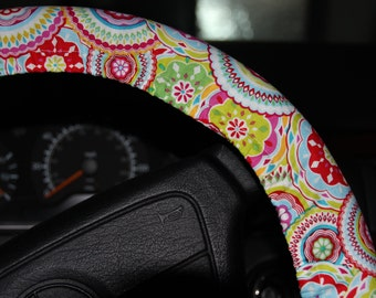 kumari Garden Sanjay Pink Wheel cover . Steering Wheel Cover .Floral wheel cover .