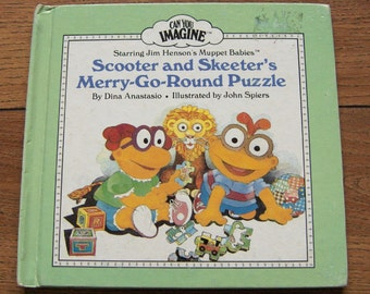 vintage 80s Muppet Babies Skooter and Skeeter Merry Go Round Puzzle  children muppets weekly reader guc