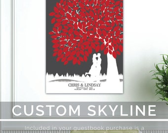 Wedding Tree Guestbook // with Personalized Skyline & Silhouette // 100+ Signature Guestbook // Poster or Canvas // W-T05-1PS HH3