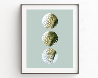 Plant Art, Palm Leaves, Palm Prints, Leaf Print, Plant Decor, Tropical Art, Circle Print, Tropical Leaves, Green Decor, Green Art, Plants