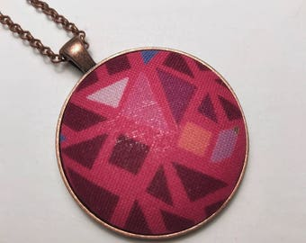 Bright Pink Necklace| Hot Pink Pendant| Geometric Necklace| Triangle Design Pendant| Fabric Button Necklace| Gifts Under 20 Dollars| Magenta