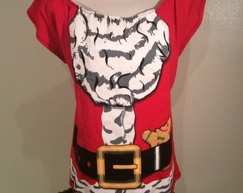 Ladies SANTA CLAUS Ugly Christmas T shirt Custom Made DIY Sexy Tunic Scoop Top Size Xl