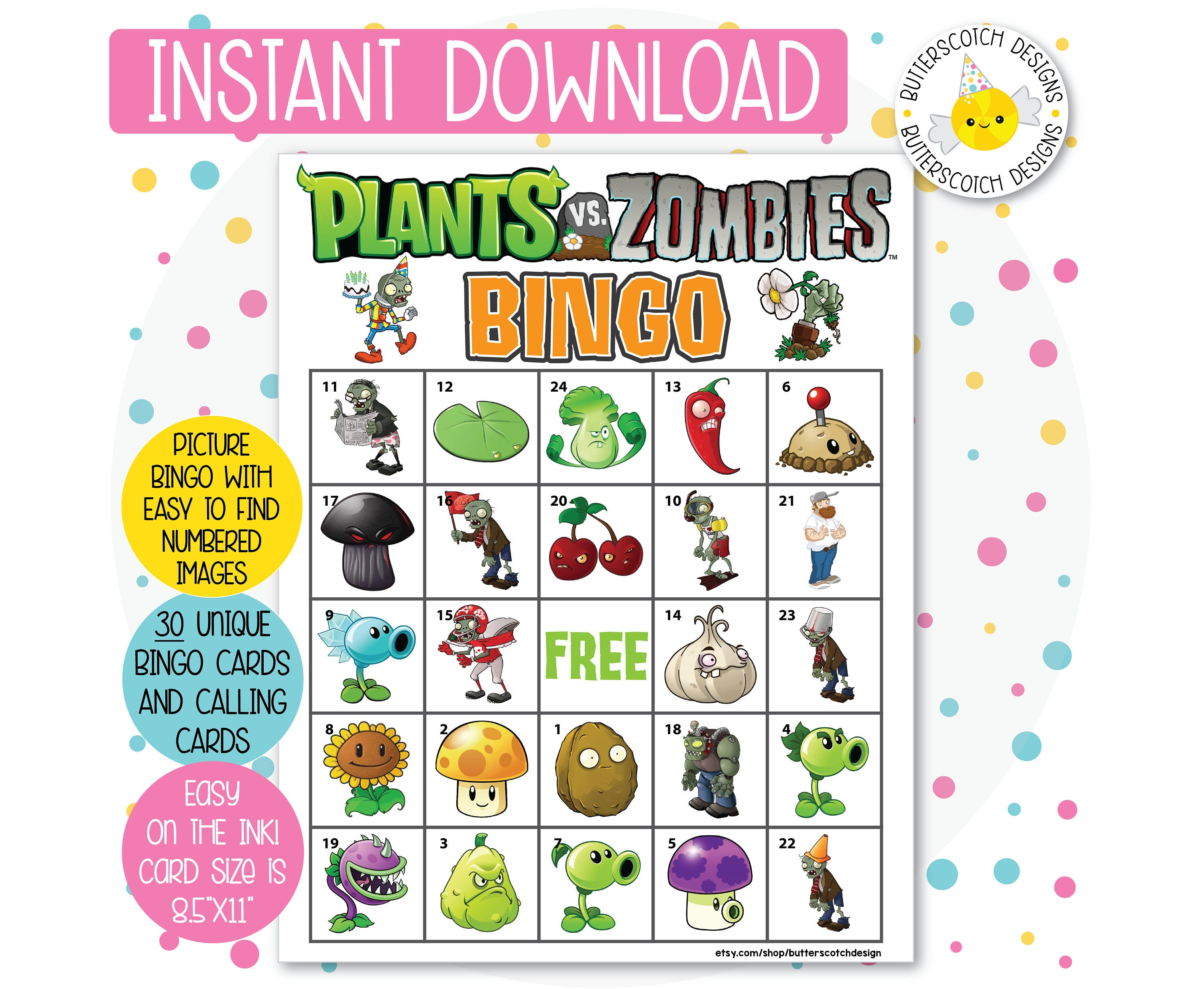 Plants vs zombies printable bingo cards 30 different cards zoom kristyandbryce Choice Image