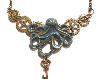 Octopus & gears bib necklace steampunk skeleton key antiqued gold bronze patina HP Lovecraft Cthulhu 11G
