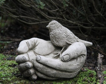 Bird Bath Feeder Bird In Hand Stone Garden Ornament Decor Gift