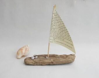 Driftwood - boat sail boat sculpture Driftwood - deco seaside - coastal decor - gift idea.