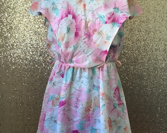 vintage pink floral mini dress with bib overlay