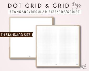 STANDARD SIZE TN Dot Grid and Grid - Printable Traveler's Notebook Insert - Script Theme