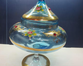 Bohemian Art Glass Lidded Compote Light Blue With Gold Gilt JEWELED