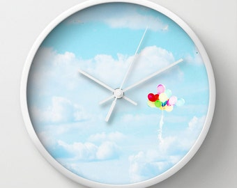 Balloon Wall Clock - Sky Photography - Sky Blue Photo - Cottage Chic - Home Decor - Art Wall Clock - Rainbow colors photograph