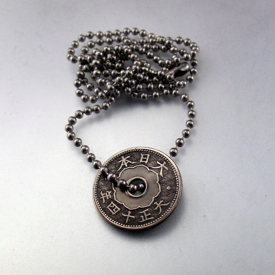 Antique japanese coin jewelry necklace pendant sen flower zoom mozeypictures Images