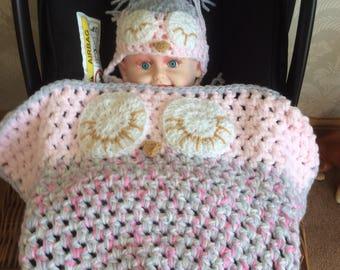 Chunky cozy Owl car seat Blanket