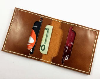 Minimalist Leather Wallet, Front Packet Wallet, Slim Bifold Wallet, Personalized Leather Wallet, Birthday gift, Gift for Dad, MNM3