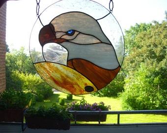 Vintage Tiffany Glasmalerei Fensterbild farbiges Glas Motiv See-Adler Glasbild Fenster Garten Fenster-Dekoration Handarbeit 80'er Jahre