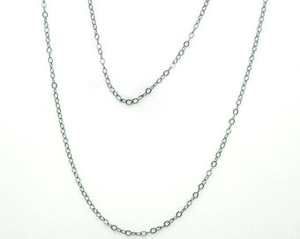 """Sterling Silver Chain-- Finished Necklace Oxidized Sterling Silver .925 Flat Cable Chain with Spring Clasp 1.3mm --16"""" (S71B6-04)"""