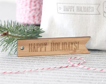 Holiday Gift Tags - Set of 9 modern engraved wood christmas gift tags
