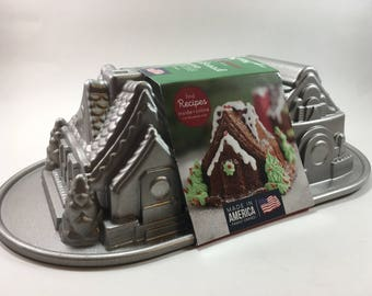 Gingerbread House, Duet Cake Pan, Nordic Ware, Two Cottages, Holiday, Christmas, Baking, Gift, Mold, Bread, Cake, Heavyweight Aluminum