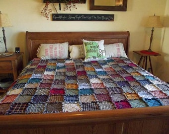 Custom Patchwork Rag Quilt, King Size, Made to Order, Rustic, Homemade Quilt, Country Primitive, Farmhouse Decor, Primitive Decor
