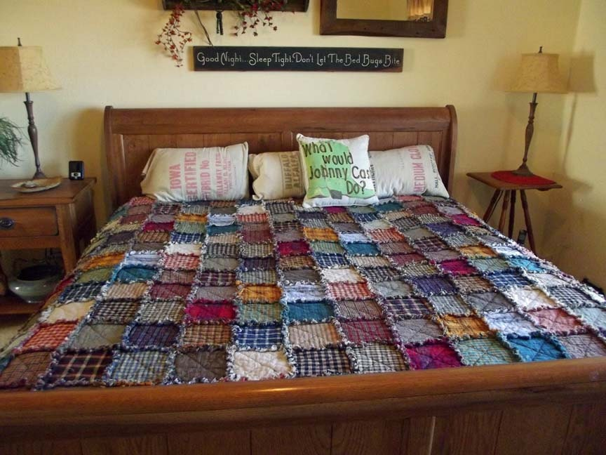 King Patchwork Rag Quilt Made to Order Handmade Rustic : king size quilt - Adamdwight.com