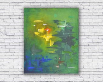 Green, blue and yellow abstract canvas
