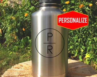 Stainless Steel Growler, personalized design, personalized engraved growler, laser engraving, wedding, groomsmen, Hydro Flask style