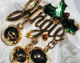 Christmas Vintage Brooch Pin Jingle Bells Quality Mid Century Ringing Music Dangle Holiday Holly Berries Glazed Modernist Cheery Unique