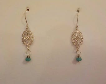 Sterling Silver With Turquoise Bead Drop Earrings