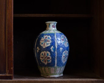 Antique Hand Painted Pottery Ceramic Vase - 19th Century