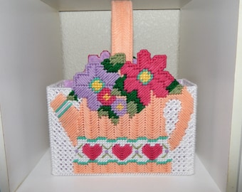 Handmade Plastic Canvas Watering Can with Flowers Gift Bag