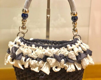Mini bag in cotton strap and eco leather handle