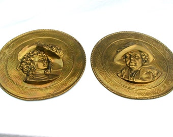 Unique vintage set 2 11 inch wall plaques brass high relief plates pair Victorian Woman Man