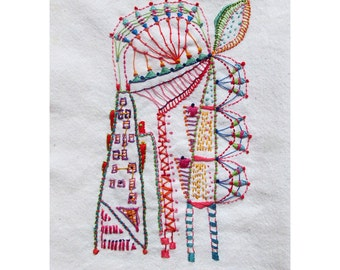 Hand Embroidered Art Piece, Looking Down Californa Street