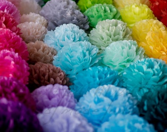 18 mixed size tissue paper Pompoms set - pick your colors - fullest pompoms