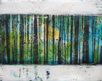Grove of Trees, original encaustic painting, wall art on cradled panel