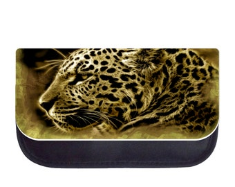 Leopard Up-Close - Black Pencil Bag - Pencil Case