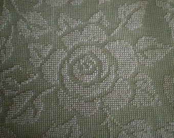 """Fieldcrest Jadite GREEN and White CABBAGE ROSE Vintage Chenille Bedspread Fabric  18"""" X 24"""""""