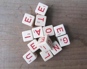 Boggle Letter Cubes Dice Vintage Game Pieces Craft Supply Choose Red or Black Lettering
