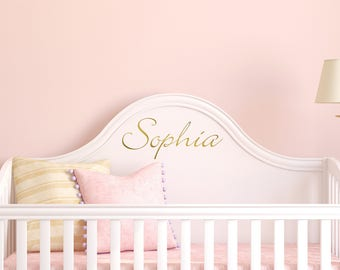 Name Wall Decal, Personalized Name Decor, Girls Nursery Decal, Name Decal Girls Bedroom Decor, Gold Name Lettering, Gold Name decal, custom