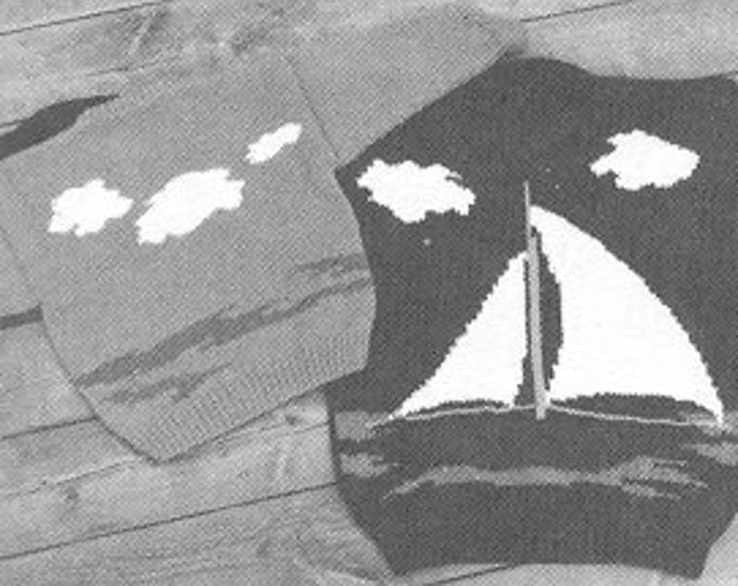 eweCanknitpattern 128: The Sailboat child's sweater pattern uses worsted weight yarn
