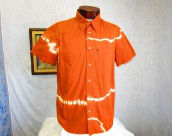 90s XL Sixty Pro Tec Tie Dye Men's  S/S Shirt Rust Orange